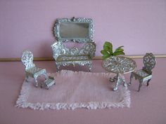 German Soft Metal Parlor Furniture For Tiny Dollhouse by TheToyBox
