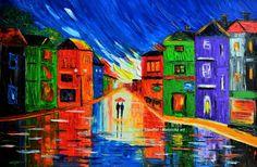 """cityscape paintings rain painting couple night street town light MAGIC RAIN oil on canvas textured 24x36"""" Mariana Stauffer Malorcka on Etsy, £182.03"""