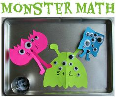 Easy Monster Math - great math and fine motor activity. Add magnets to eyes and use pizza pans.