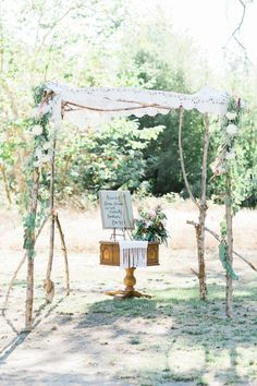 ceremony altar with nature elements, photo by Erica Houck Photography http://ruffledblog.com/rural-california-wedding #weddingceremony #weddingideas