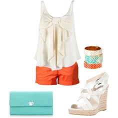 White, teal, and orange summer outfit.