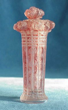 1920s Lalique Panier de Roses -- Pink Glass Crystal Perfume Bottle