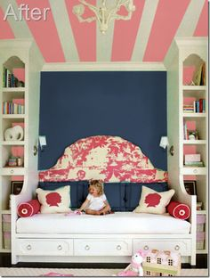 Pink and Navy bedroo