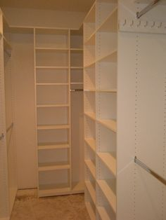 My treatment of a long and narrow closet. Custom walk-in closet in a quality melamine. There is a key to this plan! My secret...