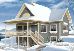 Plan W2939B-V2 : Chalet 3 chambres, terrasse arrière couverte, 2 séjours, rangement #cottage #design #balcony #country #houseplan http://www.dessinsdrummond.com/detail-plan-de-maison/info/1003044.html