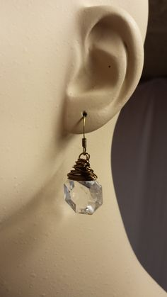 Wire wrapped vintage Chandelier Crystal Earrings by whattawaist, $21.00