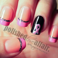 Nail art for Breast Cancer Awareness check out www.ThePolishObsessed.com for more nail art ideas.