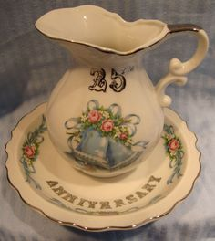 Vintage Fine China 25th Anniversary Blue Bells/Roses Silver Accent Pitcher &Bowl.