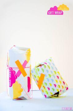 Neon gift wrap {free printable}