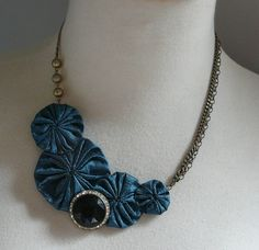 midnight bubbly  silk yoyo statement necklace with by cookoorikoo