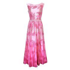 1950's Pink Silk Brocade Gown
