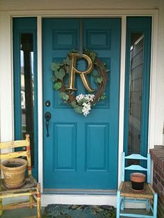 the doors, blue doors, dream homes, monogram, front doors, frontdoor, wreath, painted doors, front door colors