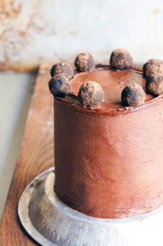 triple layer chocolate marzipan cake