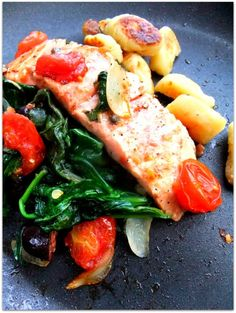 roasted salmon with pan-seared gnocchi