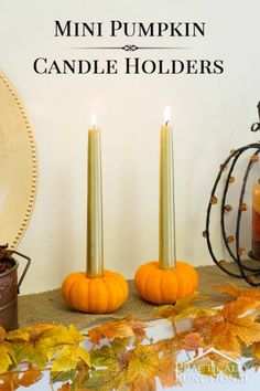 DIY Mini Pumpkin Candle Holders: Turn a mini pumpkin into a candle holder in just five minutes! (Can be sized to fit tea lights, votives, or tapers)
