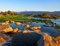 Water cascading over boulders, feeding into lakes and lagoons edged with railroad ties. Rolling fairways with pines, palms and desert sage. Deep pot bunkers and wonderfully manicured, undulating greens. All that plus the San Jacinto Mountains providing the backdrop for some of the most beautiful sunsets you could ever imagine. *Experience Troon Golf at +The Westin Mission Hills Golf Resort & Spa. http://bit.ly/1oJk974 #Troon #TroonGolf #PlayTroon