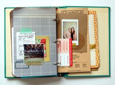 oh goodness. an old book turned into a binder and used as a scrapbook (by ann-marie).