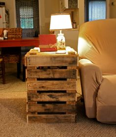 Add Flat top to it to make a side Coffee Table. Possibly for the window. Pallet Side Table by ButlerBuilt on Etsy, $50.00