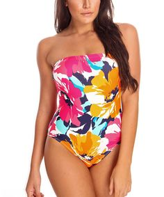bath suit, populartop swimwear, color strapless, botan bandeau, multi color, floral swimsuit