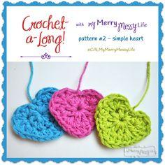 Simple Crochet Heart - Free Pattern as part of a Crochet-a-long