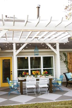 Backyard Bliss :yellow trellis top. white legs.solid grey over trellis to match house. crawling ivy with little yellow flowers weaved in an out of trellis top, cement floor, using one brick. dip in wellow paint make pattern. call patio, YELLOW BRICK ROAD!!!!   XOXOXOXO MUMZIE