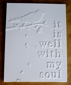 White words on white canvas - finished product.  Inexpensive DIY artwork.