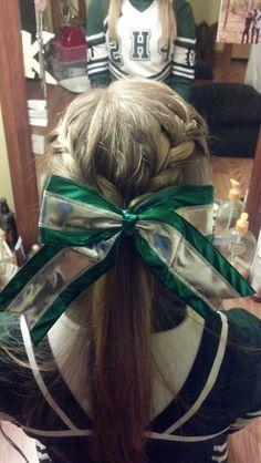 french braids, cute sports hair, braids and ponytails, bow, cute cheer hairstyles, cheerleading hairstyles, cheer ponytail hairstyles, cheerleaders hairstyles, cheerhair