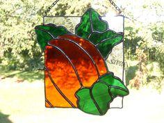 Pumpkin Extended Leaves Stained Glass Suncatcher. $25.00, via Etsy.
