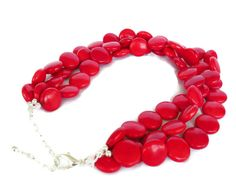 Red Turquoise Necklace Red Statement by WildflowersAndGrace