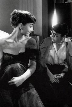 Audrey Hepburn with Edith Head.