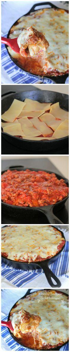 Cheesy Sausage Skillet Lasagna!  Fast and simple to prepare weeknight dinner recipe! #lasagna #dinner