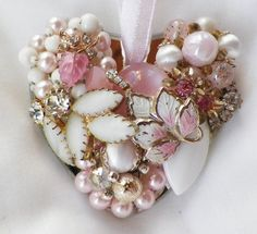 Shabby Pink and White Vintage Jewelry by glassbeadtreasures, $26.00