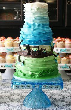little owls baby shower cake