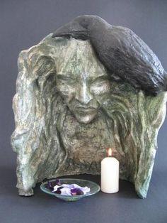 Morrigan votive shrine.... divin feminin, artists, houses, morrigan, mobiles, morrighan, altars, sculptur, bit witchi