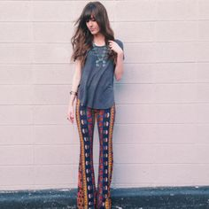 border print bell bottom styled by fpambermoore #freepeople #fpme