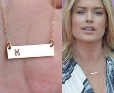 Personalized INITIAL Bar necklaceCelebrity by tyrahandmadejewelry, $32.50