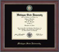 The Masterpiece Medallion diploma frame features a custom die-struck brass or pewter medallion enhanced with color enamel accents.   Each medallion is set into a special bevel-cut opening above your diploma, with your school name embossed below in silver or gold. Search for your college or university!