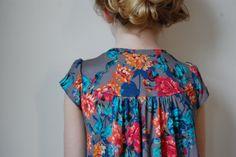 kids clothes, kid cloth, yoke dress, dresses, huge flower