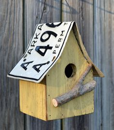 Birdhouse  recycled license plates