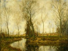 Arnold Gorter (Dutch, 1866-1933). Trees, Stream & Cattle, ca. 1910. Charles and Emma Frye Collection, 1952.051