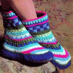 Vintage Crochet Pattern Greenland Boots Slipper Socks By PastPerfectPatterns - Purchased Crochet Pattern - (etsy)