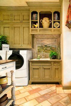 Tuscan Villa - traditional - laundry room - austin - Linda McCalla Interiors--