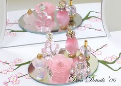 Think Pink & Purrrfectly Pink - faux fragrance sets using beads and glue.