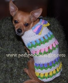 Spring Dog Sweater- Easter Tulips in a Row Small Dog Sweater