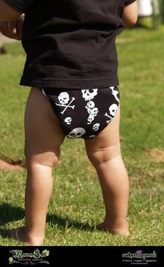 Thunder Skulls Diaper Cover - Goth, Rockabilly, Punk Baby Toddler baby shower gift by Miso Punk $14.00
