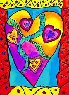 "From exhibit ""Laurel Burch Hearts and Animals"" by Brighton3 art museum, valentine day, art lesson, art idea, art stvalentin, queen of hearts, heart art, art projects, bright colors"