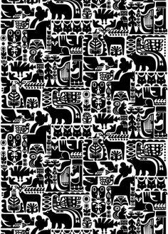 Pattern Kanteleen Kutsu, design Sanna Annukka, Marimekko upholstery fabrics.
