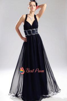 Criss Cross Back Prom Dresses, Navy Blue Chiffon Prom Dress, Long Beaded Chiffon Prom Dress, Navy Blue Chiffon Backless Evening Ball Prom Gown