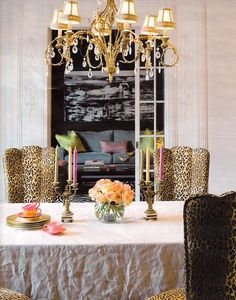 dining table decor....chairs, flowers, candles, chandelier<3