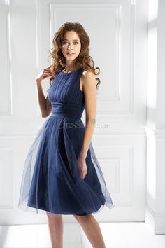 Modest Ruched Bridesmaid Dress with Tulle Overlay